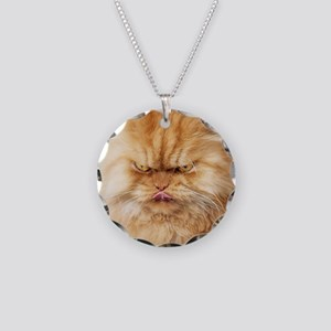 Persian cat looking angrily  Necklace Circle Charm
