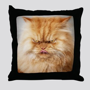 Persian cat looking angrily into came Throw Pillow