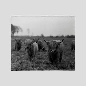 Scottish highland cattle on field, N Throw Blanket