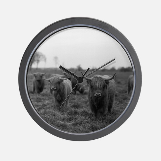 Scottish highland cattle on field, Nort Wall Clock