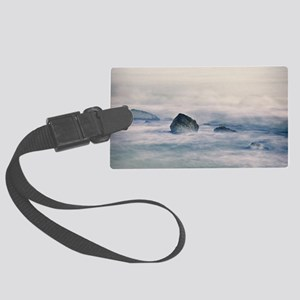 Sea wave with rock. Large Luggage Tag