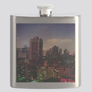 Skyscraper at night, Guangzhou, China. Flask