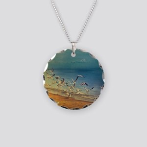 Seagulls flying on lakeshore Necklace Circle Charm