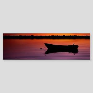 Silhouette boat in lake with suns Sticker (Bumper)
