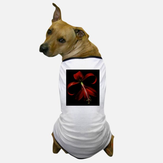 Special red lily on black background. Dog T-Shirt