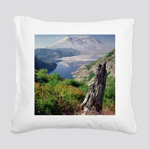 Remains of tree against new p Square Canvas Pillow