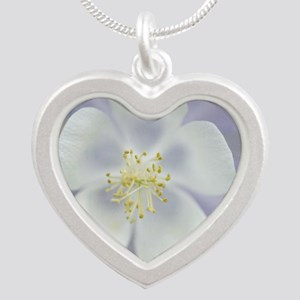 Rocky Mountain columbine flo Silver Heart Necklace