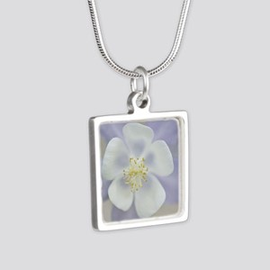 Rocky Mountain columbine f Silver Square Necklace