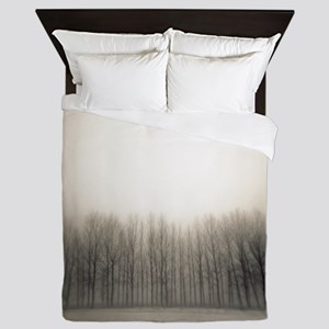 Row of poplar trees in winter. Queen Duvet