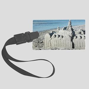 Sandcastle on beach Large Luggage Tag