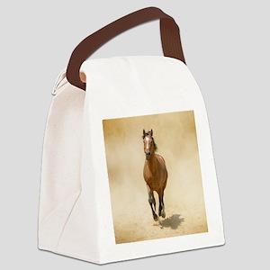 Shagya-Arabian horse cantering th Canvas Lunch Bag