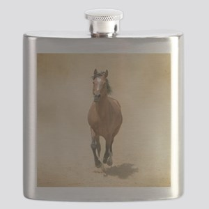 Shagya-Arabian horse cantering through dust. Flask