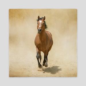 Shagya-Arabian horse cantering through Queen Duvet