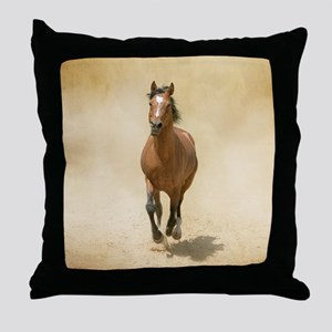 Shagya-Arabian horse cantering throug Throw Pillow