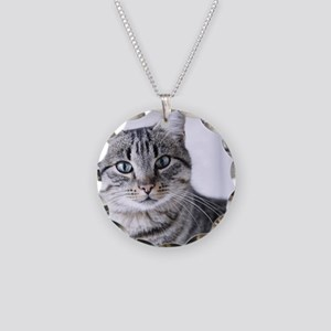 Tabby gray cat and green eye Necklace Circle Charm