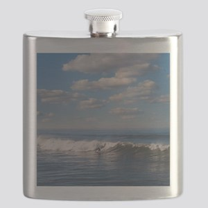 Surfer riding big wave in Ocean beach, Calif Flask