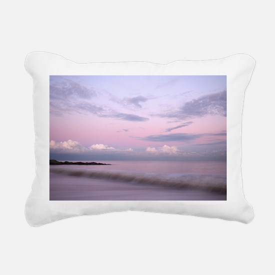 Serene coastal scene at  Rectangular Canvas Pillow