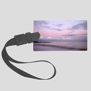 Serene coastal scene at dusk, Su Large Luggage Tag