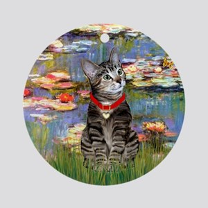 Tabby Tiger Cat in Lilies Ornament (Round)