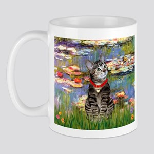 Tabby Tiger Cat in Lilies Mug
