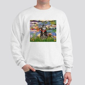 Tabby Tiger Cat in Lilies Sweatshirt