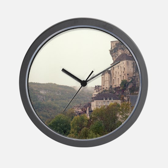 View of town and mountains in fog, Dord Wall Clock