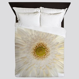 White gerbera daisy isolated on white. Queen Duvet