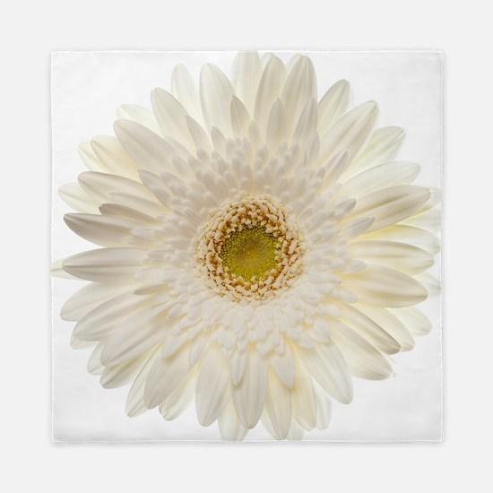 White gerbera daisy isolated on white. Queen Duvet