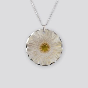 White gerbera daisy isolated Necklace Circle Charm