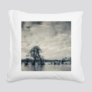 Trees on flooded banks of riv Square Canvas Pillow