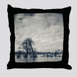 Trees on flooded banks of river Rhine Throw Pillow