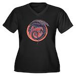 Black Dragon Women's Plus Size V-Neck Dark T-Shirt