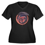 Black Dragon Women's Plus Size V-Neck Dark T-Shirt