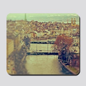 View of Zurich over Limmat river on a ra Mousepad