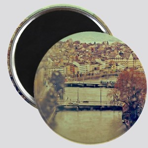 View of Zurich over Limmat river on a rainy Magnet