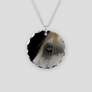 White Horse. Necklace Circle Charm