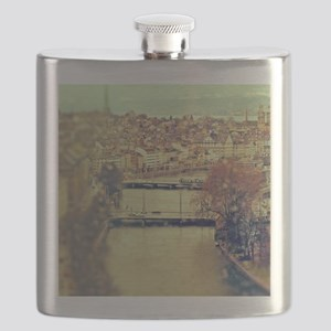 View of Zurich over Limmat river on a rainy  Flask