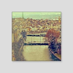 "View of Zurich over Limmat  Square Sticker 3"" x 3"""