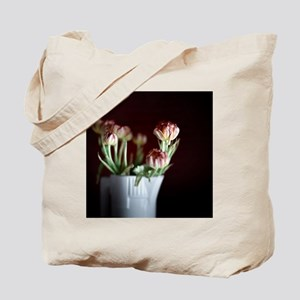 White vase with flowers. Tote Bag