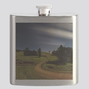 Winding Country road at night. Flask