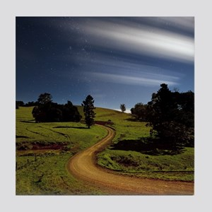 Winding Country road at night. Tile Coaster
