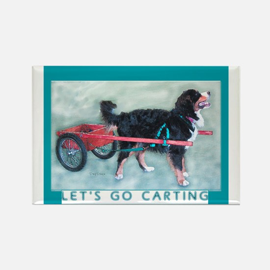 Bernese Mtn Dog CART Rectangle Magnet