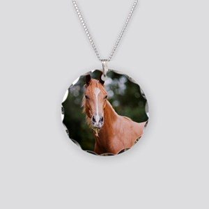 Young brown quarter horse ea Necklace Circle Charm