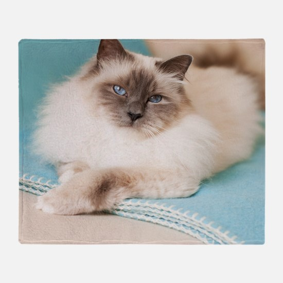 White sacred birman cat with blue ey Throw Blanket