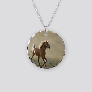 Young Arabian horse trotting Necklace Circle Charm