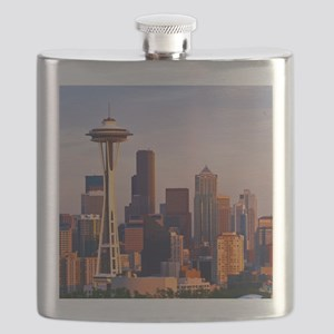 The Space Needle at dusk in Seattle, Washing Flask