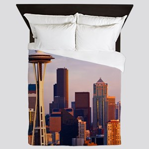 The Space Needle at dusk in Seattle, W Queen Duvet