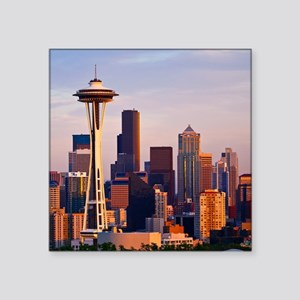 """The Space Needle at dusk in Square Sticker 3"""" x 3"""""""