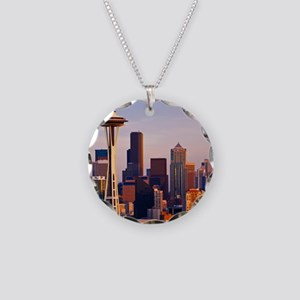 The Space Needle at dusk in  Necklace Circle Charm