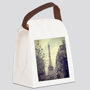 The Eiffel tower surrounded by th Canvas Lunch Bag